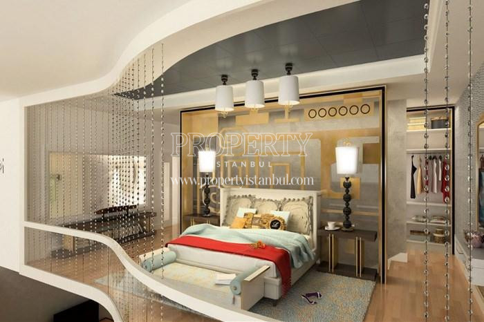 Well-designed master bedroom of the duplex apartment in Agaoglu Maslak 1453