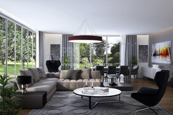 Grey corner sofa in the living room in Arti Tarabya