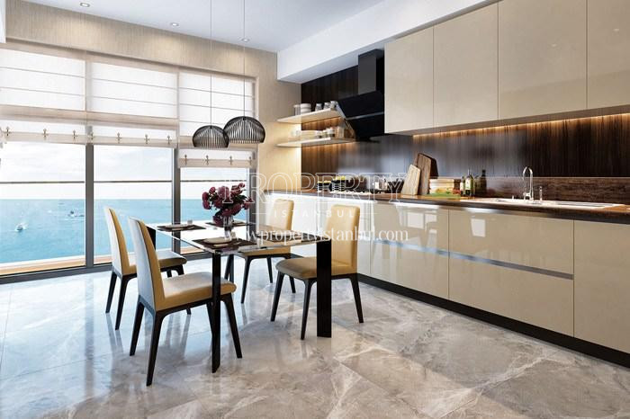 The kitchen facing to sea in Pruva 34