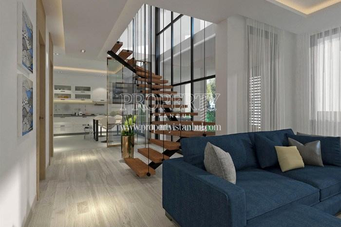 The interior stair in one of the duplex unit in Tarabya Life