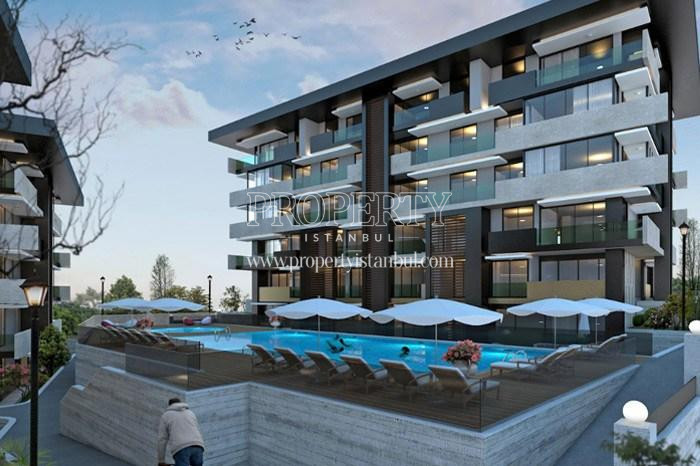 The outdoor swimming pool of Tarabya Life compound