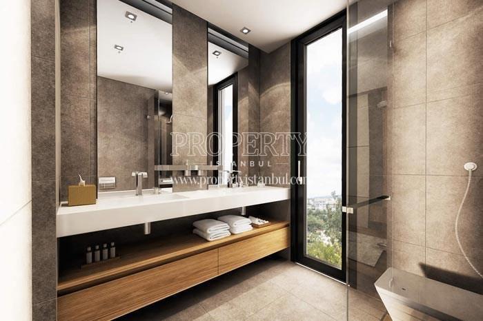 The bathroom having the city view in Therra Park Tarabya