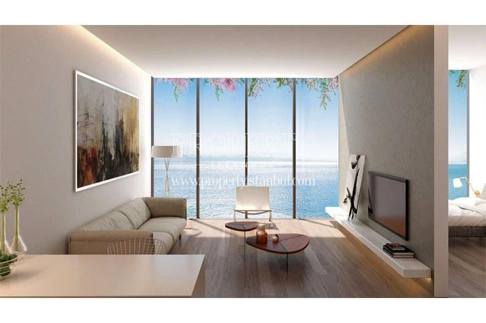 The small living room with the sea view in Yedi Mavi