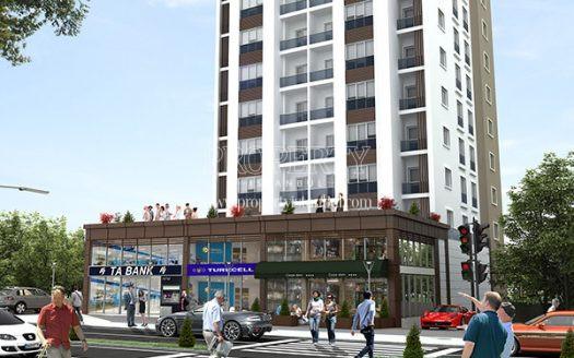 Cadde Rezidans building with the shops