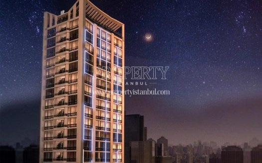 Koc Tower building at night