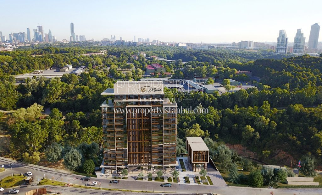 Modern As Maslak building with woodland